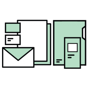 papeleria iconos sobre carpeta tarjetas de visita folletos